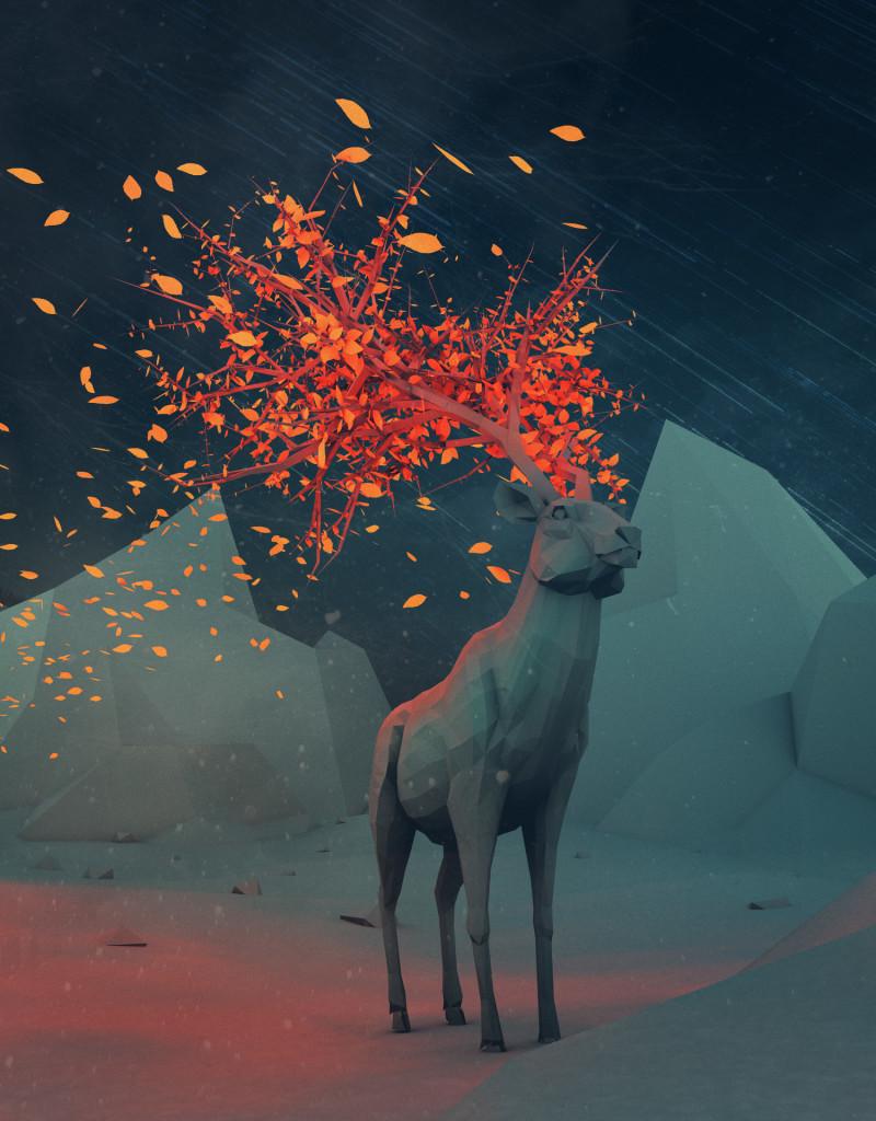 elg med løvblader i geviret