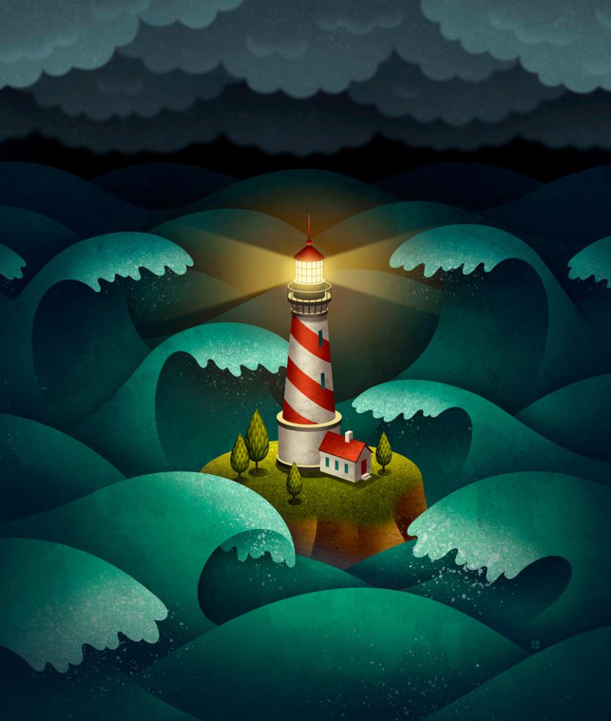 fyrtårn, bølger, havet