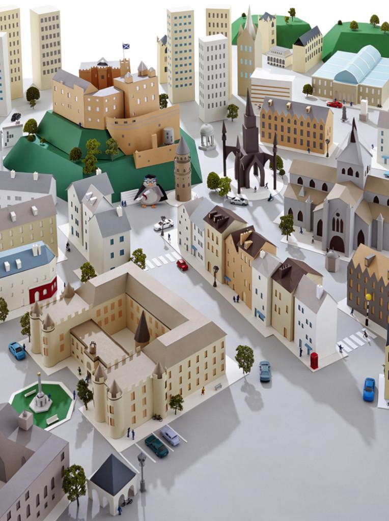 bilde av by laget av papir