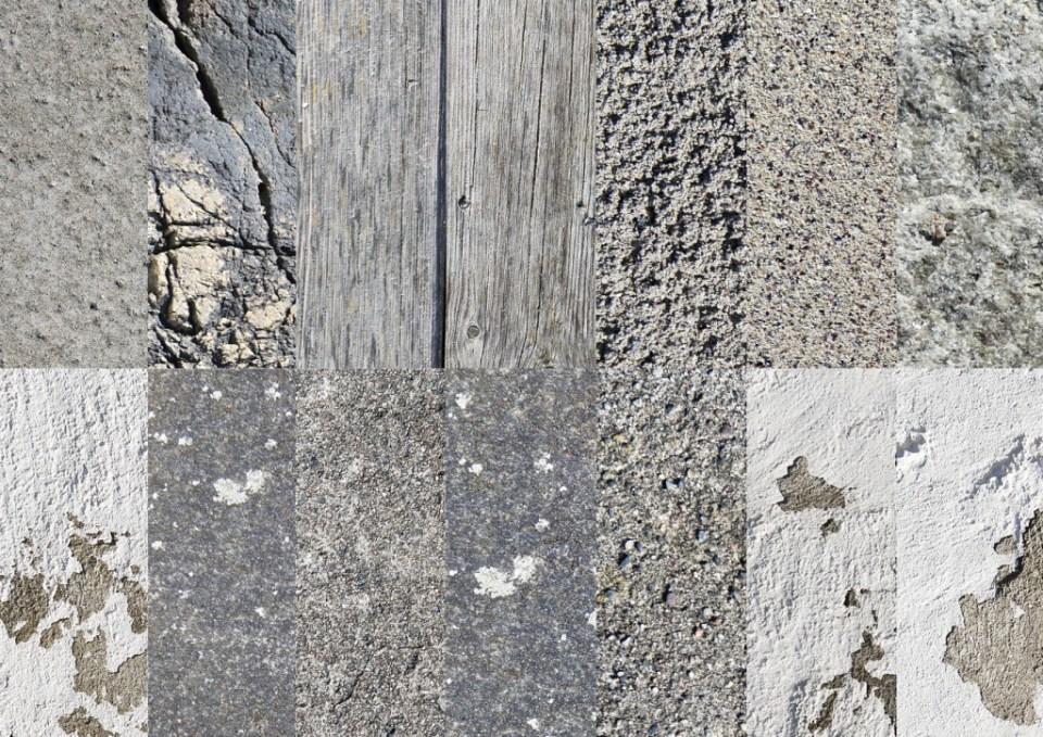 struktur tre stein betong og sand