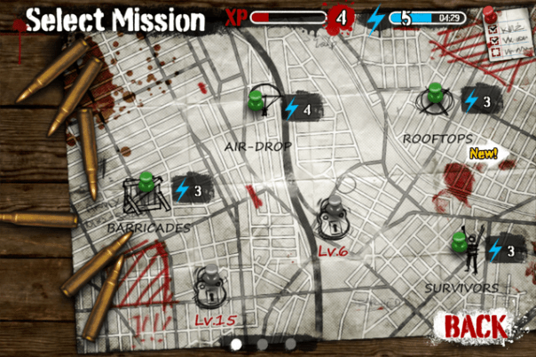 "The ""map"" screen, where you can select and take part in missions."