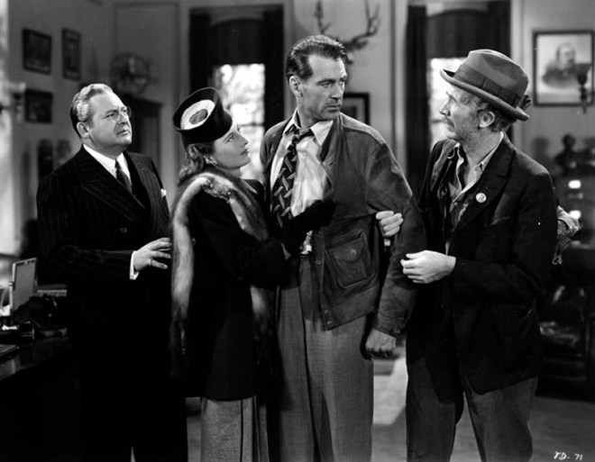 "From left to right: D.B. Norton (Edward Arnold), Ann Mitchell (Barbara Stanwyck), ""Long John"" Willoughby (Gary Cooper), and The Colonel (Walter Brennan) in Meet John Doe."