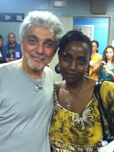 Robin Renée with seminal Steely Dan drummer Steve Gadd, backstage while he was on tour with James Taylor. PNC Bank Arts Center, 6/23/12