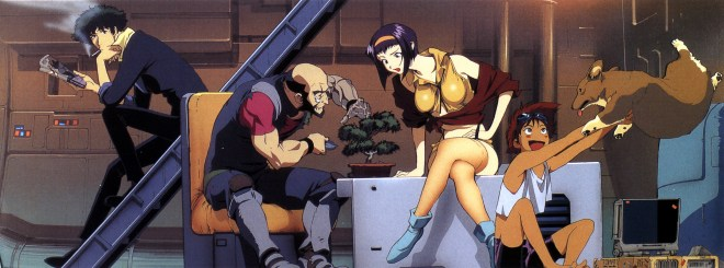 The Crew of the Bebop (l to r): Spike, Jet, Faye, Ed, and Ein.