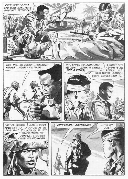 "The last page of ""Conflict!"", Blazing Combat #4; script by Archie Goodwin, art by George Evans."