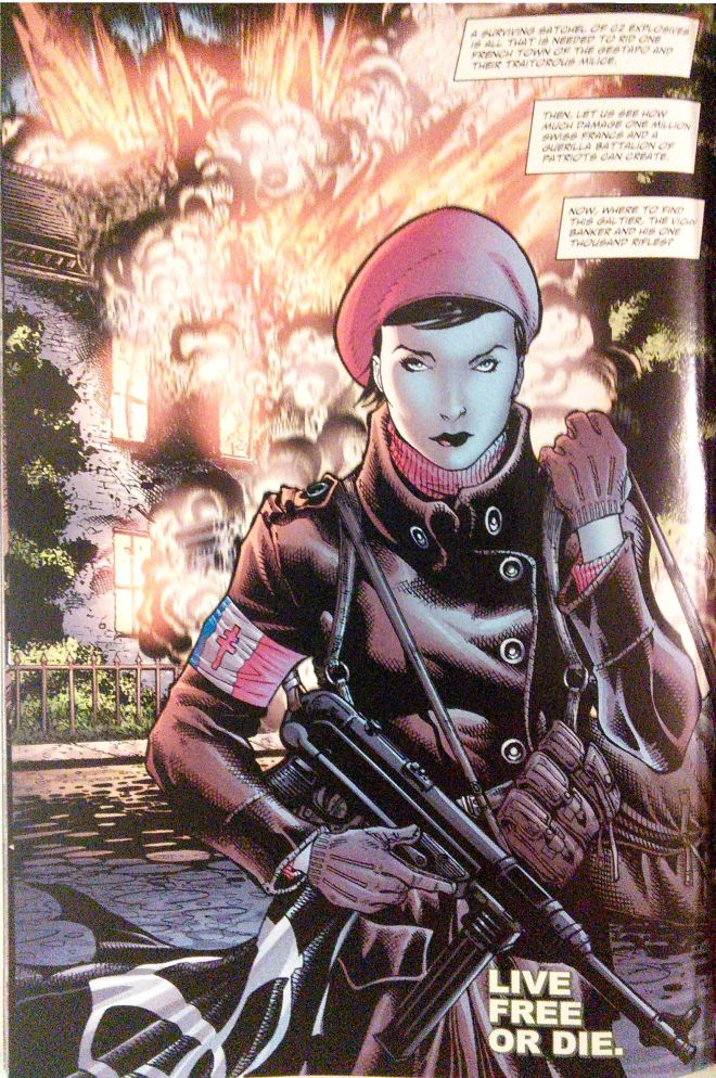 Splash page from Star-Spangled War Stories featuring Mademoiselle Marie, Script by Billy Tucci, art by Justinian & Tom Derenick. (Author's collection.)