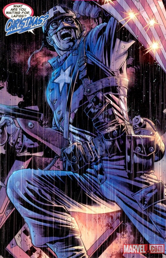 Splash page from The Ultimates #1, 2002. Script by Mark Millar, art by Bryan Hitch.