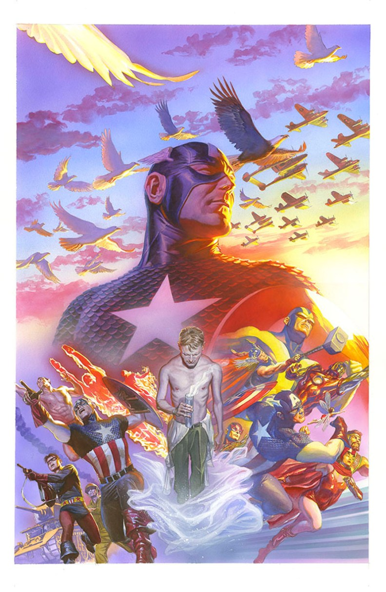 Varient cover for Captain America 75th Anniversary Magazine, 2016. Art by Alex Ross.