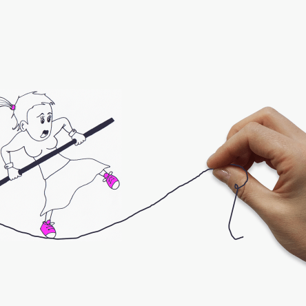 illustration: a girl fearfully walking on a slack high wire with a human hand holding one end