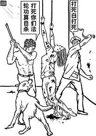 中共酷刑示意圖:毒打