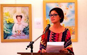哈瑟爾特市長希爾德•克雷斯女士為真善忍國際美展致開幕詞