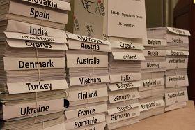 '調查活摘器官請願書匯自歐洲三十六國,由十六萬六千四百六十一位民眾簽署'