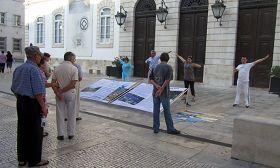 Coimbra的民眾在看學員演示功法和真相展板