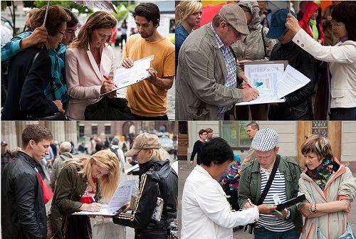 瑞典民眾簽名,呼籲制止中共強摘器官暴行