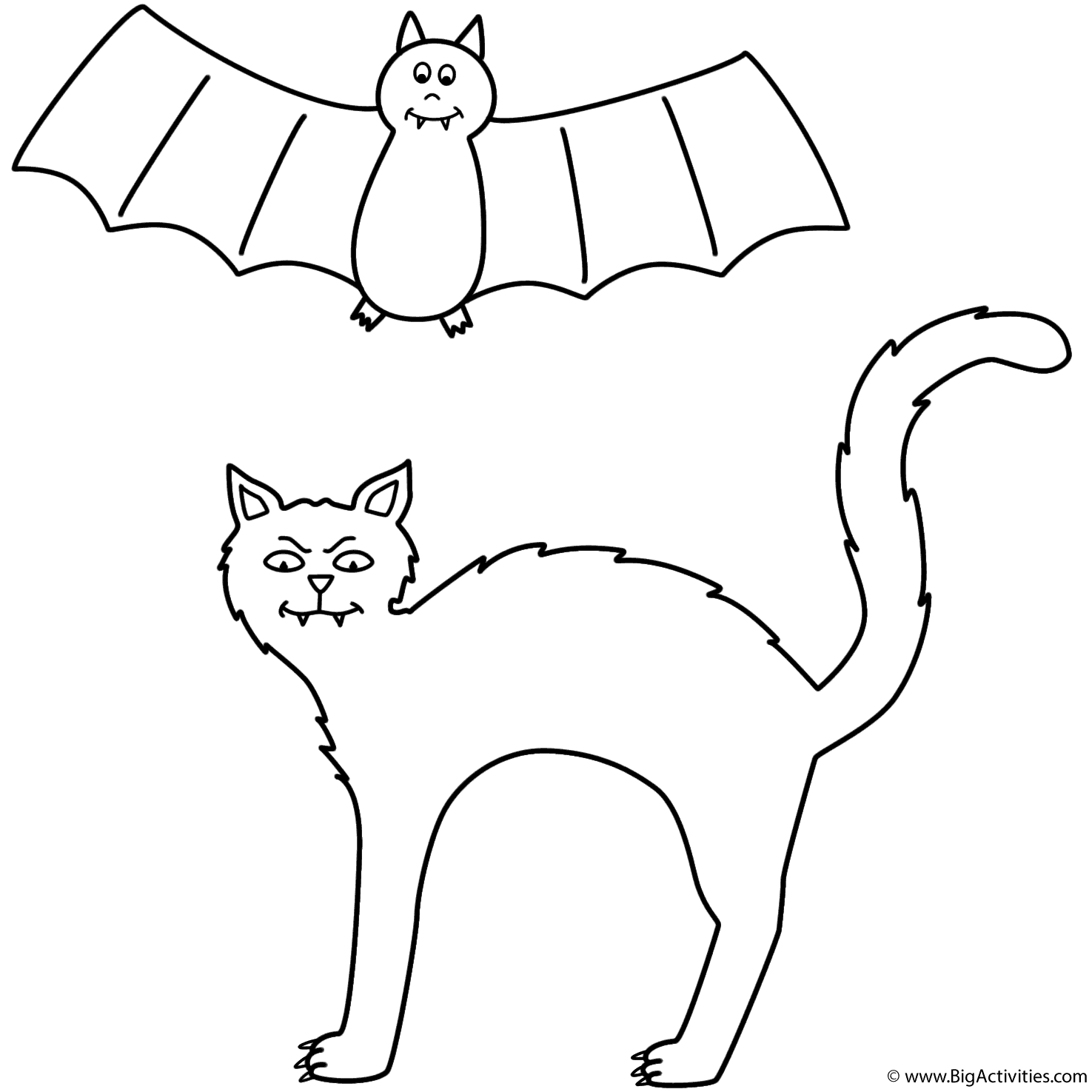 black cat with bat coloring page halloween
