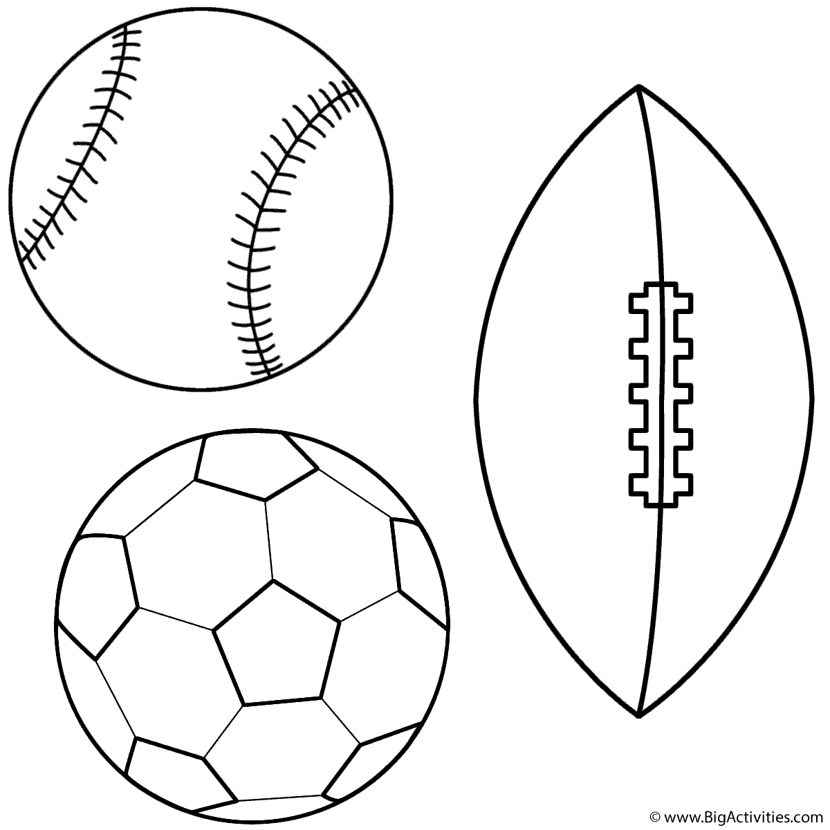 baseball soccer ball and football coloring page sports