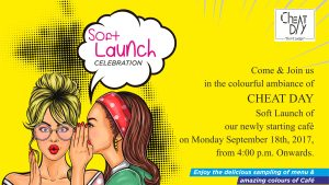 Cafe Invitation Designing – Cheat Day Cafe, Pune (opening invitation designs) Soft Launch