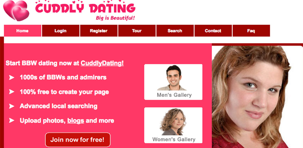The outdated home page of Cuddly Dating