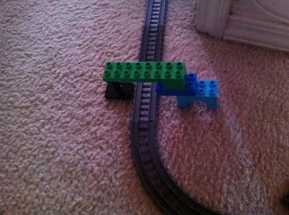 Lego bridge over tracks