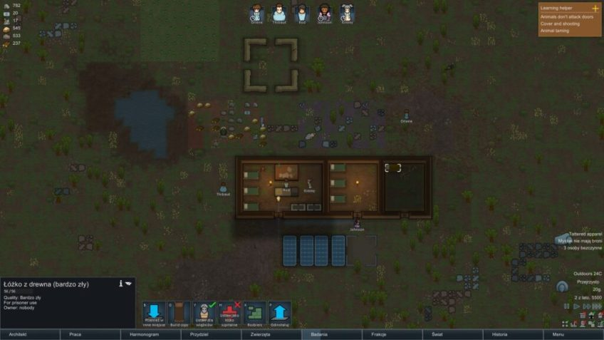 Początkowa budowa osady dla kolonistów.