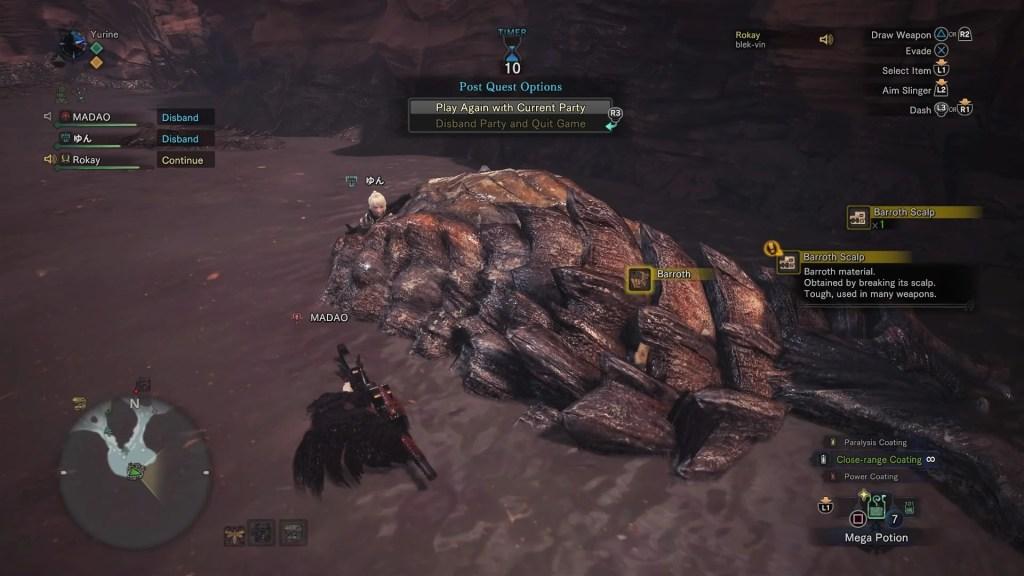 Zbieranie łupu z zabitej bestii.