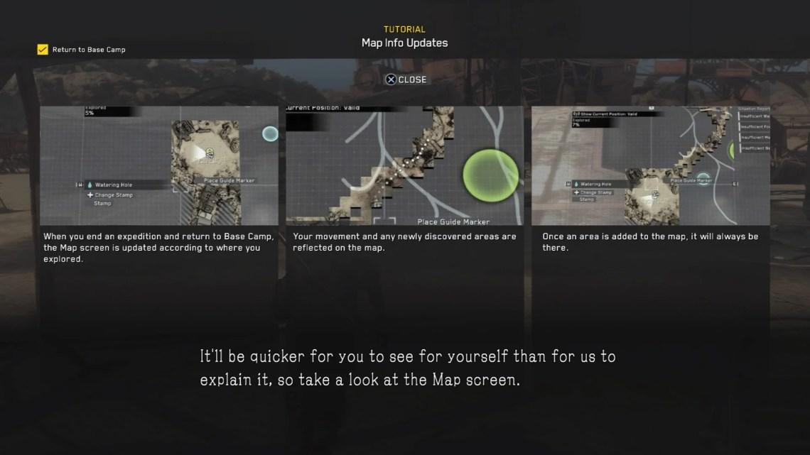 Informacje o odsłanianiu mapy.