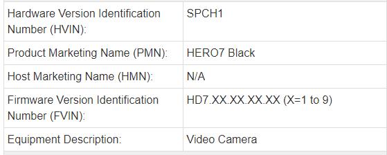 GoPro HERO7 Blackの登録情報1
