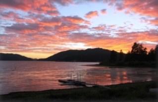 Sunset over Big Bear Lake cabin rental