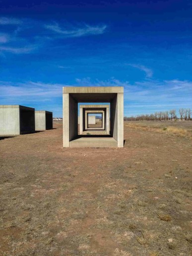 Chinati Foundation Art in Marfa, Texas large concrete blocks laid out with purpose