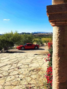 a Ferrari in the middle of the desert in lajitas texas