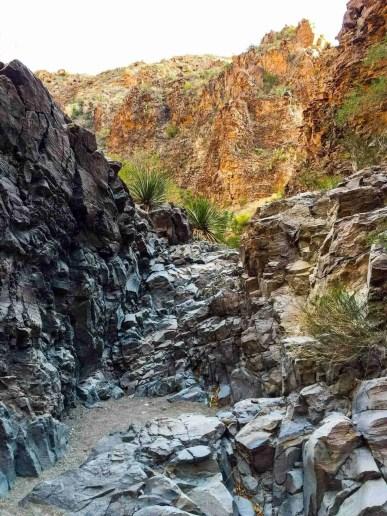 climbing the upper burro mesa pour off trail