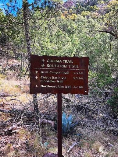 Trail Head Sign South Rim Big Bend