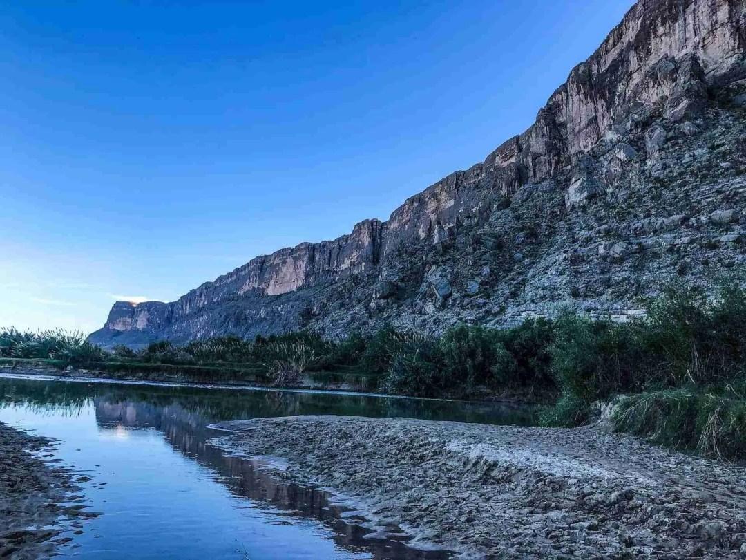 view of mexico border and rio grande at Santa Elena canyon