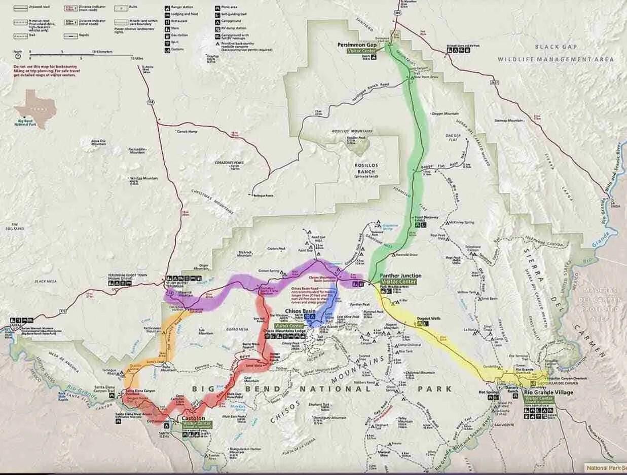 Big Bend National Park Driving Tour Map