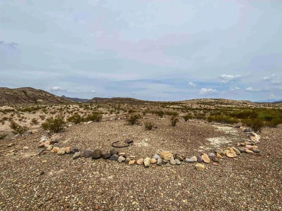 odd rock circle at ruins in la noria in big bend