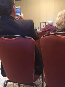 photo from Bill Heroman via Facebook of Mark Goodacre, snapping Chris Porter, snapped by Sarah Mayo Heroman at #sblaar16