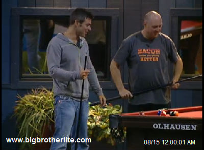 Jeff and Adam have fun at the pool table