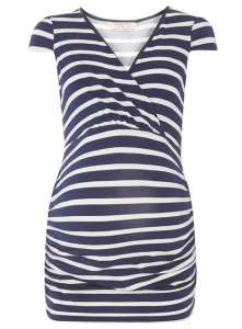 Maternity Navy/White Stripe Cap Sleeve Top Price: £16.00