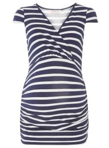 Maternity Navy/White Stripe Cap Sleeve Top Price: £16.00