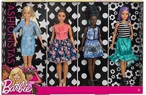 Barbie multipack of 4 Fashionista dolls - tall, curvy, petite and original