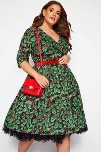 Holly Print vintage style dress by Hell Bunny