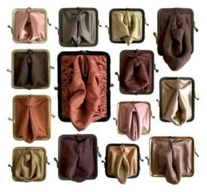 Fat Vaginas: a display of inside-out purses looking remarkably like a selection of vaginas.