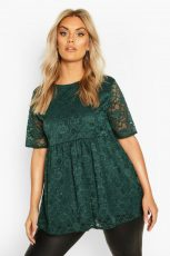 Forest Green Lace Cap Sleeve Empire Top