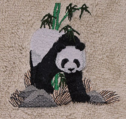 Black & White Panda Embroidered Bath Towels