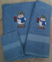 Snowman With Present Embroidered Bath Towel Set