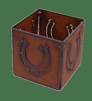 Rustic Metal Horseshoe Candle Holder