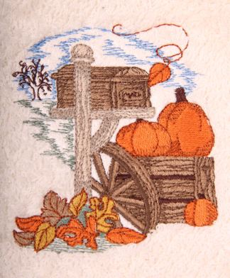 Autumn Pumpkins and Leaves Mailbox Embroidered Bath Towels