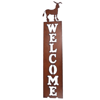 Universal Ironworks Donkey Welcome Rustic Metal Sign