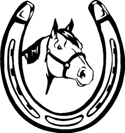 Black horse shoe decal