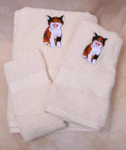 Calico Kitten Towel Set